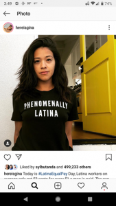 "Gina Rodriguez's instagram photo featuring her wearing a black t-shirt which reads ""Phenomenally Latina"""